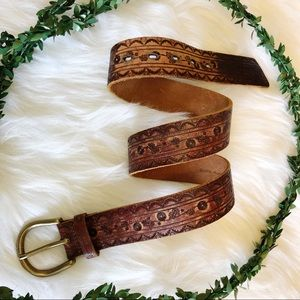 Accessories - Distressed tooled leather belt with brass buckle